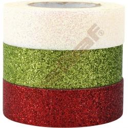 Brokátové samolepící pásky (bílá, zelená, červená)