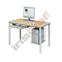 Počítačový stůl LUX PLUS s policí na HD a výsuvnou policí na klávesnici - javor