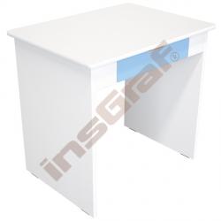 Quadro - psací stůl se širokou zásuvkou - bílý korpus, blankytný