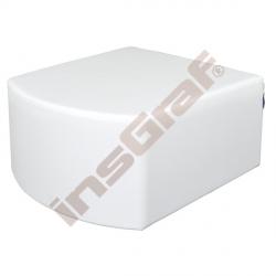 Bílý sedák vypouklý, výška 34 cm