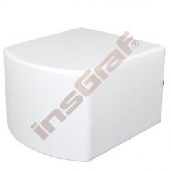 Bílý sedák vypouklý, výška 44 cm