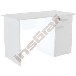 Psací stůl se skříňkou a zásuvkou - bílý
