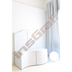 Bílý sedák s výřezem, výška 54 cm