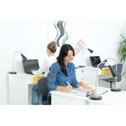Quadro - psací stůl se širokou zásuvkou - bílý korpus, žlutý