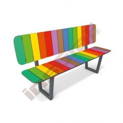 Duhová lavička s opěrkou