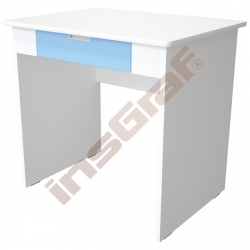 Quadro - psací stůl se širokou zásuvkou - blankytný